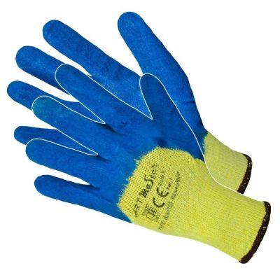 Manusi Latex Tricotate Albastre Dublu 10